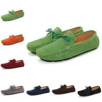 35-44 Damen Loafer Schleife Halbschuhe Faux-Veloursleder Slipper Weich Outdoor D
