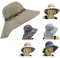 Ladies Wide Brim Outdoor Back Flap REVERSIBLE Packable Flower Cotton Sun Hat