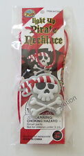 12 Flashing Light Up Pirate Skull Necklaces Jolly Roger Party Goody Favor Supply