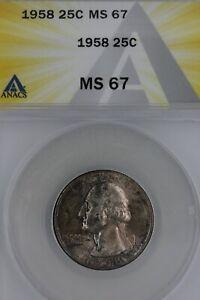 1958  25C MS 67  ANACS - Washington Quarter, Silver 25 Cents (0.25)
