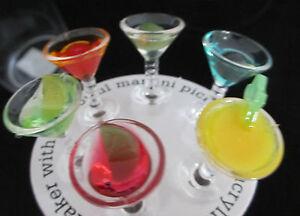 COCKTAIL Shaker + PICKS in Gift Set martini daquiri margarita glasses olives NEW