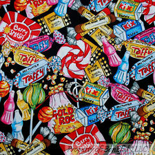 BonEful Fabric FQ Cotton Quilt VTG Birthday Candy Soda Sweet Lollipop Peppermint