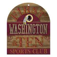 "WASHINGTON REDSKINS 1ST & TEN SPORTS CLUB WOOD SIGN 10""X11"" BRAND NEW WINCRAFT"