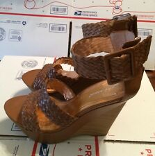 10 New BCBG  Generation Brown Leather Wedge Sandal