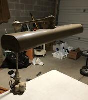 Vtg Art Specialty Flexo Industrial Clamp Lamp Drafting Desk Task Light MCM Gray