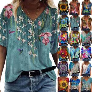 Plus Size Womens Boho Short Sleeve Ladies Blouse Print Shirt Casual V-Neck Tops