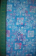 AvLyn Turq & Pink Medallion Batik Quilt Fabric