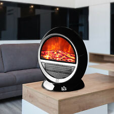 650W 1200W Electric Fireplace Heater Freestanding Fire Flame Adjustable Black