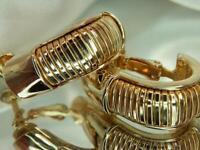 Vintage 1980's-Modern Gold Tone Pretty Hoop Screw Back Clip on Earrings 723M0