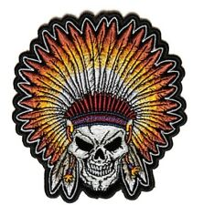 Skull Indian Head Dress Patch Embroidered Iron On Native American Chief