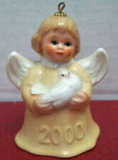 2000 Goebel Annual Christmas Angel Bell Ornament Holding Dove Millenial Germany
