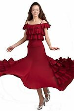 SGC21RD Ballroom Smooth Tango Flamenco Dance Dress Top Skirt Set