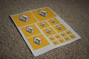 Renault Car Vehicle Logo Badge Racing Tuning Decals Stickers Yellow Grey