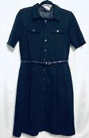 Boss Hugo Boss Wool Shirt Dress Size 8 Womens Belted Black Lined