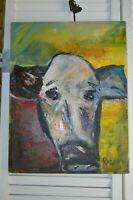 Oil painting of a cow. Impressionism.  Original by Rozann