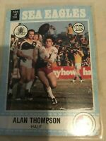 1977 SCANLENS NSW Rugby League Trading Card No104 Alan Thompson Manly Sea Eagles