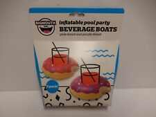 New Big Mouth Inflatable Beverage Boat - Pink Purple Doughnut - Package of 2