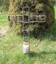 Kreuz aus Metall mit Grablicht - Grablichthalterung - Ewiges Licht - NEU !