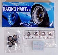 "Aoshima 1/24 Racing Hart 14"" Wheel Rims & Tire Set For Plastic Models 5377 (44)"