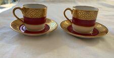 Ensemble de 2 tasses à café moka Haviland - or et rouge - parfait état -