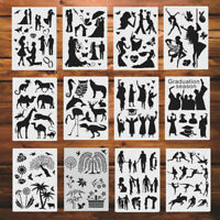 12X A4 Mix Style Painting Scrapbook Stencils DIY Wall Arts Embossing Decorat Td