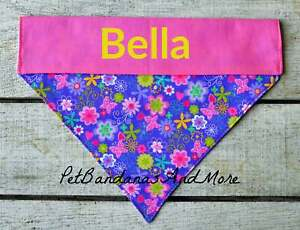 Personalized Dog Bandana Flower Summer Floral Daisy Retro Over The Collar XS-XL