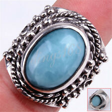 Handmade Genuine 925 Sterling Silver Large Wide Blue Larimar Gemstone Ring U1061