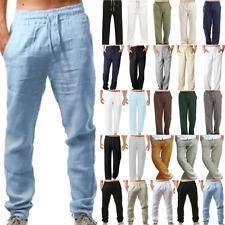 Men Linen Trousers Drawstring Summer Beach Casual Holiday Yoga Plain Baggy Pants