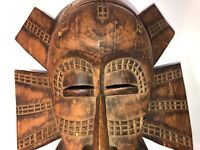 Vintage African Mask Hand Carved Wood D.R.Congo - Wooden Mask Ready to Hang