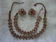 FROSTED PINK STONES,RUBY RHINESTONE OVERLAY,GOLDTONE NECKLACE,BRACELET,EARRINGS