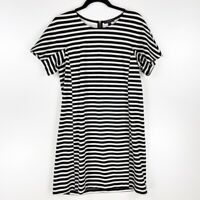 J.CREW Womens Shift Dress Black White Stripe Scoop Neck Short Sleeve Back Zip M