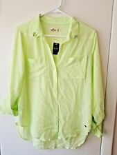 NWT!! Women's Hollister Lime Green Sheer Button Down Shirt - Size M Medium!!