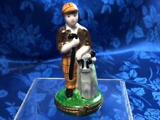"""Authentic French Limoges Trinket Box """"The Golfer"""" Peint Main"""
