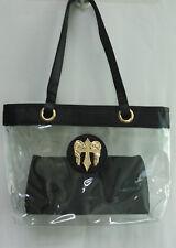 Clear Purse Handbag Black Trim W/ Insert  See Through Security Jelly Plastic Bag