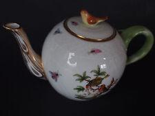 """Herend Rothschild Figural Bird Lid Finial Green Miniature Small 4"""" Teapot 1st"""