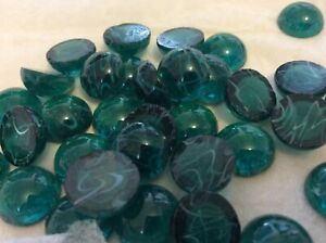Flatback Cabochon Czech Flawed Glass Vintage 13mm Emerald/white swirls Pk of 4