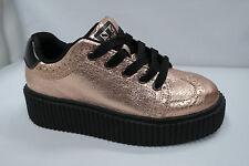 TUK Rose Gold Wingtip Casbah Creeper Womens US 6 T-U-K Platform Lace-up shoes