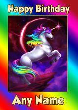 Personalised Unicorn Birthday Card  - Childrens Girls Daughter Niece Sister
