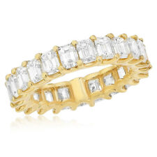 Diamond Eternity Wedding Band Anniversary Ring 18K Yellow Gold 5.48C Emerald Cut