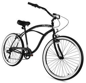 Zycle Fix Classic Beach Cruiser Men 7 Speed Bicycle Bike Black White NEW