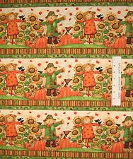 Fall Fabric - Grateful Harvest Scarecrow Bird Owl Stripe - Spectrix SPX YARD