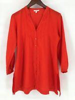 Eileen Fisher Tunic Top Size XS Orange Irish Linen Pintucked V Neck Blouse
