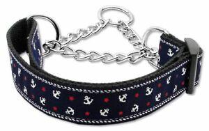 Anchors Nylon Ribbon Dog Pet Puppy Martingale Choke Collar