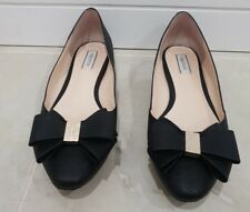 Oroton Black Leather Bow Flats RRP:$325 (Size 38)