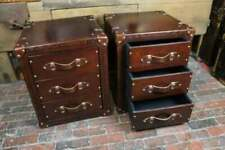 Bespoke Set of Chestnut Brown Leather Draws Side Table Trunk