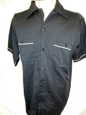 Route 66 Black Cotton Rockabilly Hot Rod Kustom Short Sleeve Shirt Side Vents M