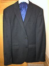 Next Signature Matching Blue Pinstripe Wool Jacket & Waistcoat 40R