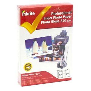INKRITE INKJET Printer PHOTO PAPER100 SHEETS GLOSS / GLOSSY 210 GSM 6X4 A6 Size