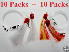 20 Packs 5/0 Shrimp Fly Rigs White & Red/Yellow Rock Fishing Lures