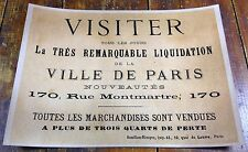 Paris France Merchandise Liquidation Sale All Must Be Sold French Poster Sign